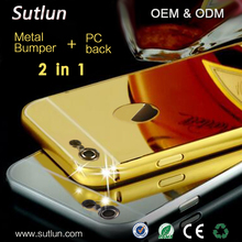 Luxury Aluminum 24k Gold Metal Bumper Ultra-thin Mirror Cover Case For Apple iPhone 5 5S 6 6S 6 6S Plus Mirror Case