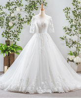 New Style White Tulle Beaded Ball Gown Suzhou Wedding Dress With Long Sleeve