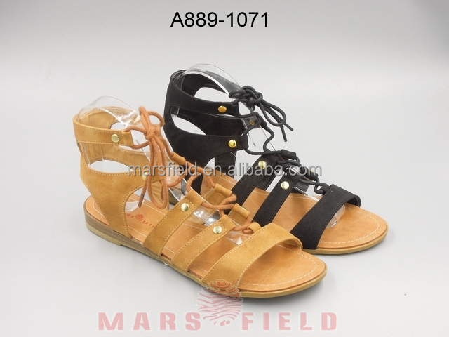Fashion roman Thong upper low wedge wood platform outsole for women