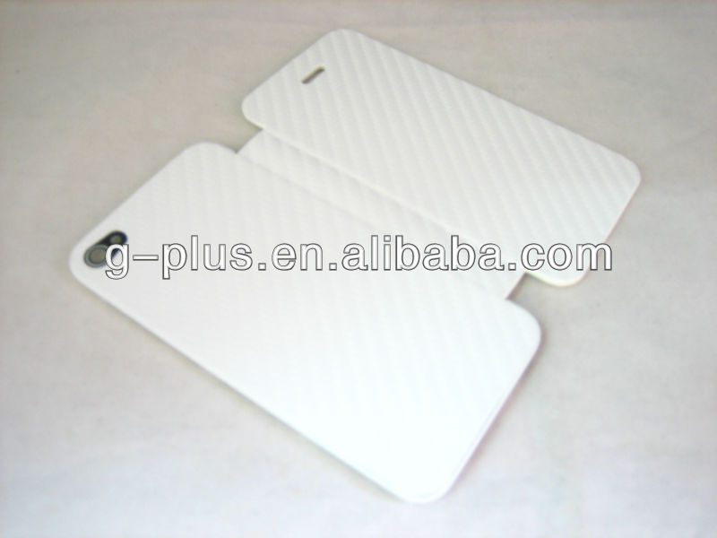 White Carbon Fiber Flip Cover Carrying Case Pouch for iPhone 4 4G G (for international and US GSM AT&T version)