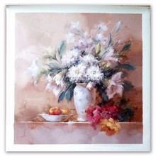 Handmade impressionist still life simple canvas white flower oil painting