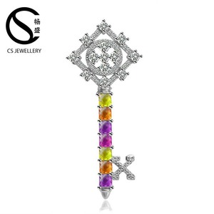 Trendy multi colour cubic zirconia 925 Silver Jewelry Wholesale gemstone key pendant