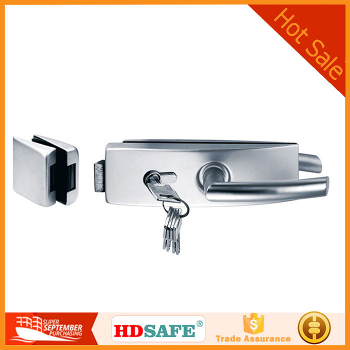 stainless steel pull door lock with handle for 10-12mm swing glass door
