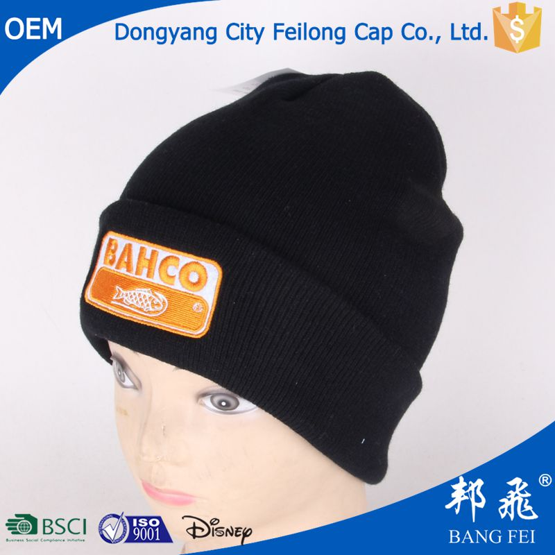 wholesale black custom Knitted Beanie Winter Hat with Woven Label