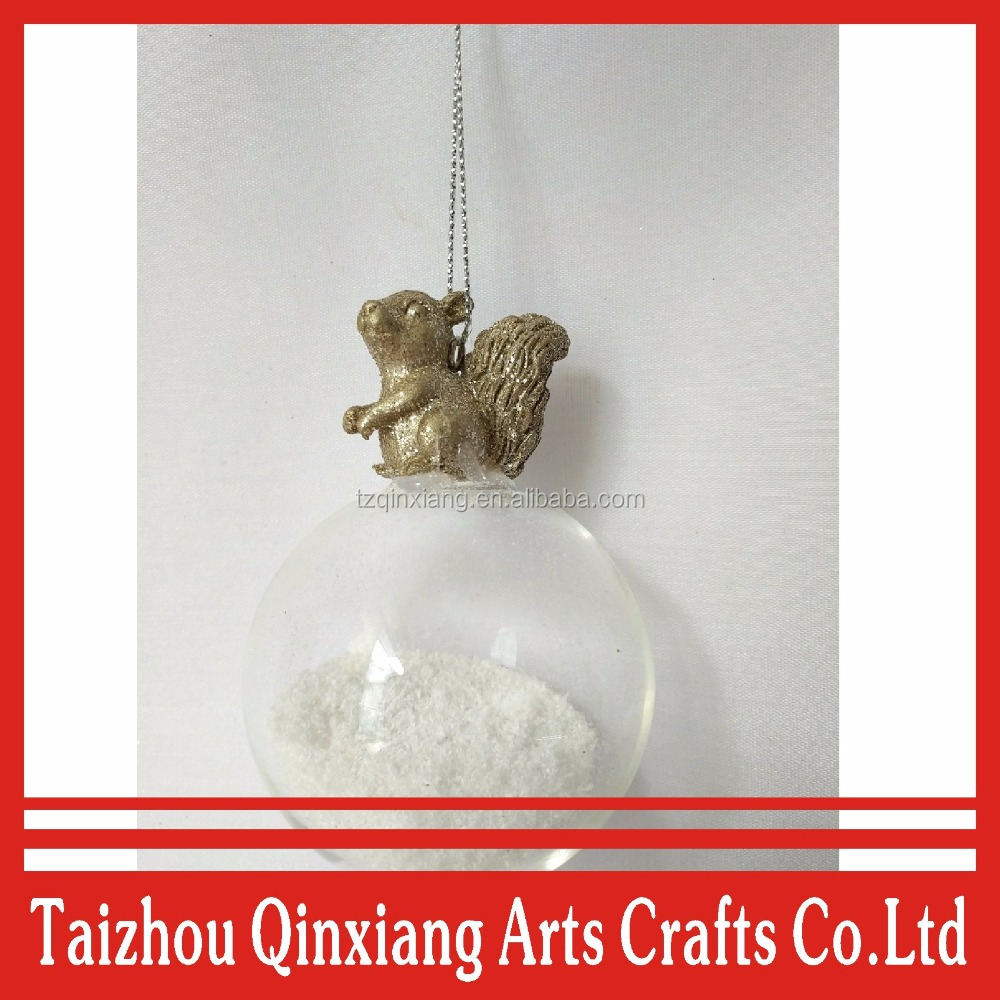 christmas item type hanging glass ball decoration with snowflake and squirrel