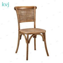 KVJ-7993 antique chinese traditional wood weaved rattan dining chair