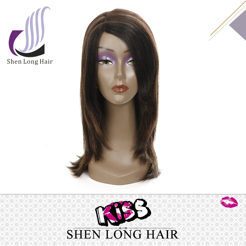 2016 New arrival 100 human hair lace front wigs with bangs, side part dark roots two tone ombre wig
