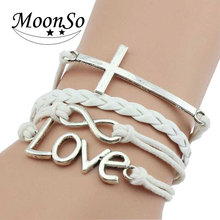 Customized logo multi colors leather knitting infinity cross LOVE charm bangle bracelet for Women fashion Jewelry gold KS2149