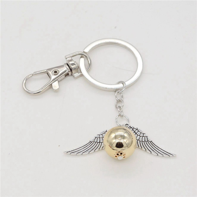 gold Color ball charm with lobster clasp silver angle wing tail chain elegant gift Keychain for women and men