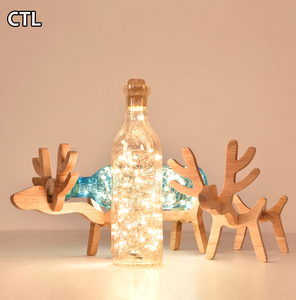 Decorative LED glass table lamp Solid wood USB night light Children's desk lamp