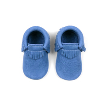 Classical Deep Blue Multi Colors Genuine Leather Baby Moccasins