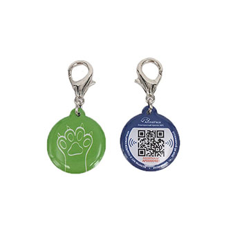 Mini Cheap MF 1K Epoxy RFID Dog Tag with Changeable Qrcode for animal tracking