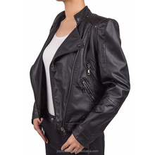 Popular new style high quality motorcycle zipper pu leather jacket for women