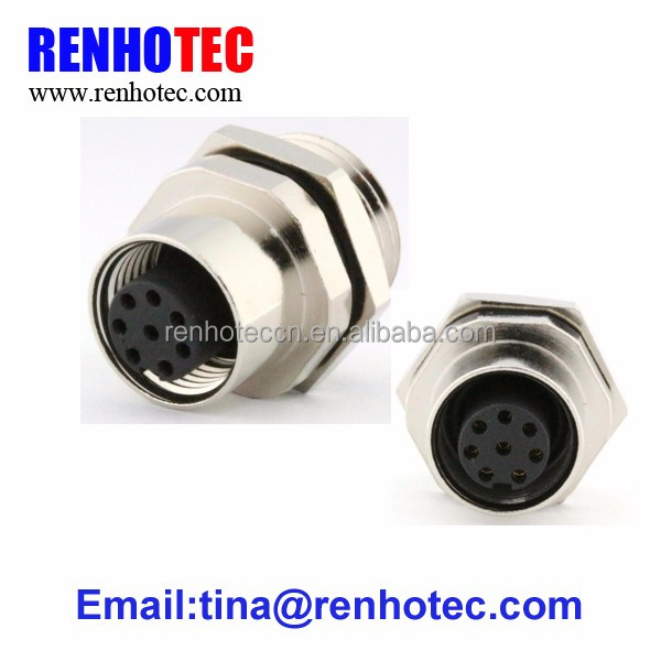 Board side Screw 8 pin female m12 cable connector