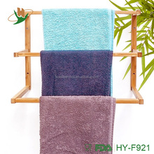 Vertical wall mounted bamboo wooden towel drying rack