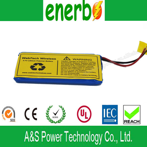 3.7V Normal Voltage 2.2Ah LiPo Battery for MP3, UPS, Toy car Batteries 2000mAh Capacity AS 624068