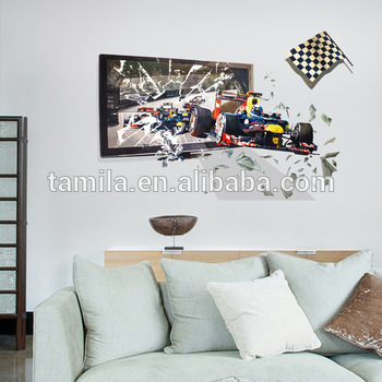 3D Formula 1 Racing Speed Car Bedroom Living Room Kids Boys Home Decoration Vinyl Wall Sticker