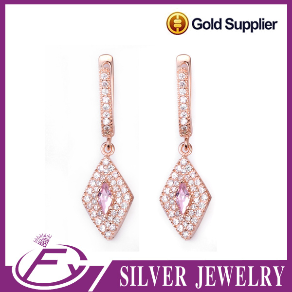 Classic style aaa cz stone 925 sterling silver 24k earrings saudi gold jewelry