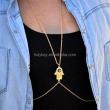 China body jewelry making supplies wholesale fake gold body chain harness necklace