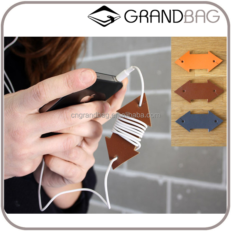luxury vegetable tanned leather earphone winders earbuds cord organizer cable organizer