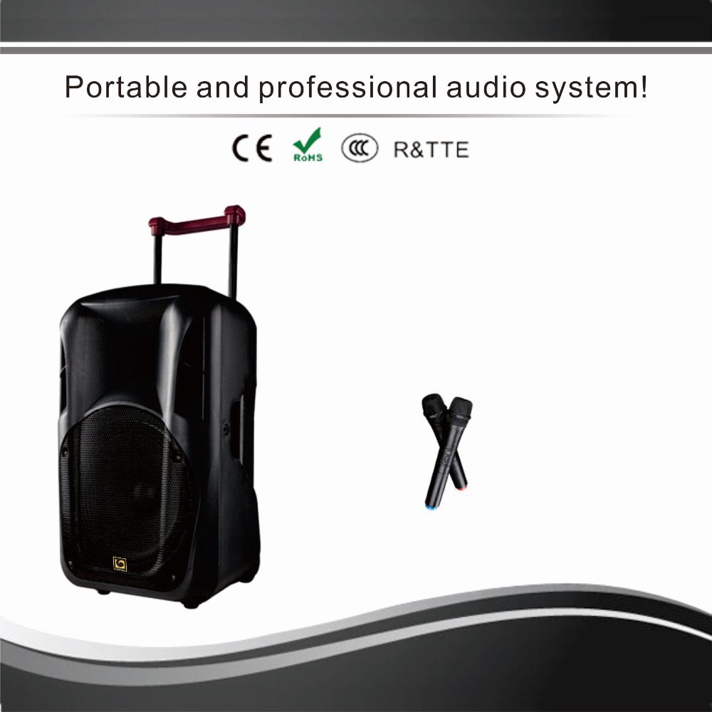 "10"", 12"" and 15"" portable active speaker with bluetooth, USB, TF card, Radio"
