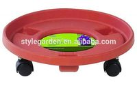 Garden Plastic Planting And Terracotta Flower Pot Trays With Wheel