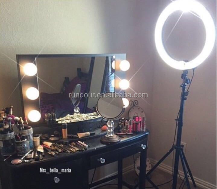 Rundour photo studio ring light led video light lamp digital photographic light 48w 5500k with 240pcs led beads for makeup