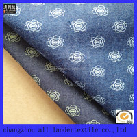 cotton textile flower printed 100% cotton denim fabric factory