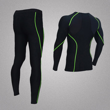 Black quick dry <strong>sport</strong> Men's compression GYM clothing/cycling suits/training wear