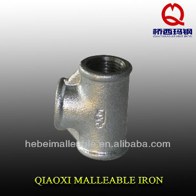 BS standard hot dipped galvanized malleable iron pipe fittings beaded equal tee