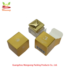 high quality foldable gold paper tube packaging Essential oil bottle cosmetic box , shiny cosmetic cream box with own logo