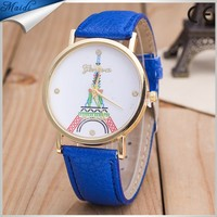 Best Deal Ladies Quartz-Watch Eiffel Tower Pattern Wristwatch Women's Clock Relogio Feminino Vogue Leather Watches LW045