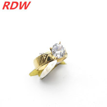 2015 RDW Latest design top sale stainless steel jewley fashionable CZ wedding ring gold