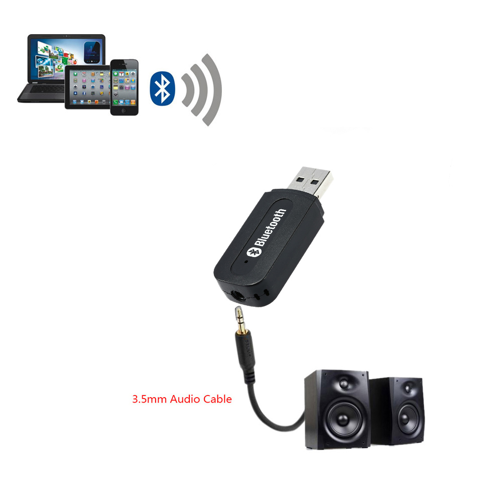 New Arrival Universal Mini USB Wireless Bluetooth Audio Receiver 3.5mm AUX Music Adapter Car AUX Home Audio System