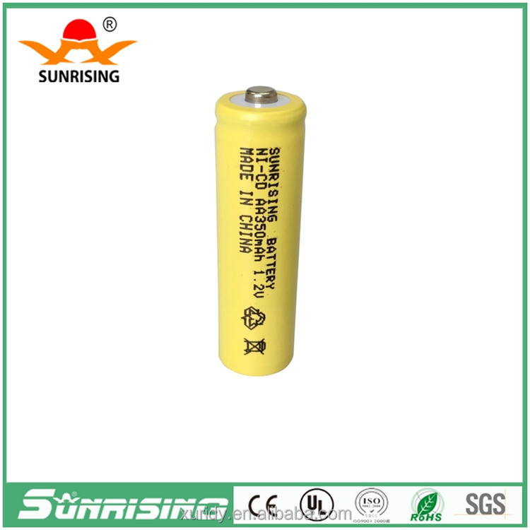 More than 500 times circle battery 1.2v 350mah rechargeable ni-cd aa battery