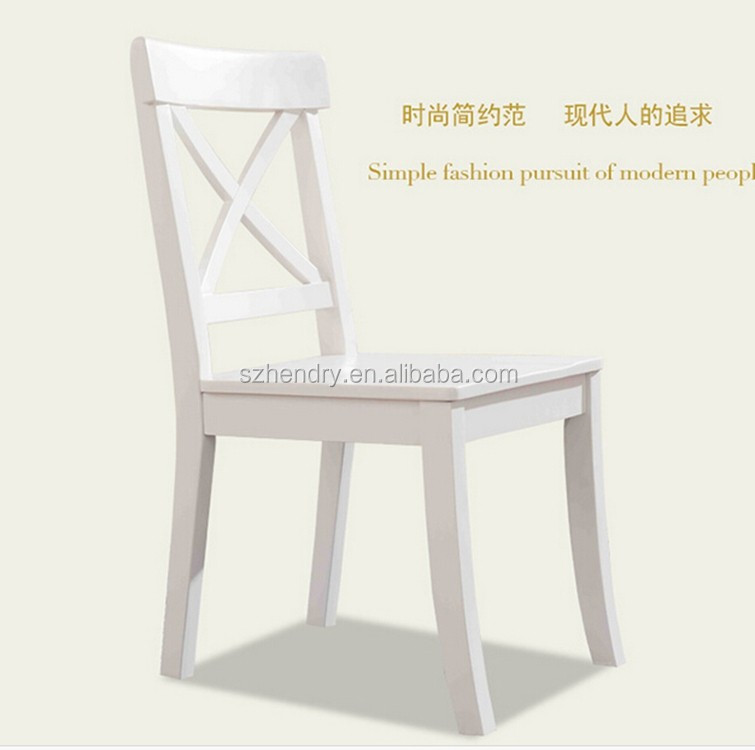 Stacking cross back solid wood dining chair