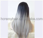 Long Straight Black Root Ombre Grey Lace Front Wig Synthetic Hair Wigs
