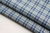 cotton fabrics 60s 106gsm 100% cotton checked twill shirt trousers garment fabric blue factory wholesale