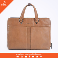 Latest design genuine leather laptop briefcase for men