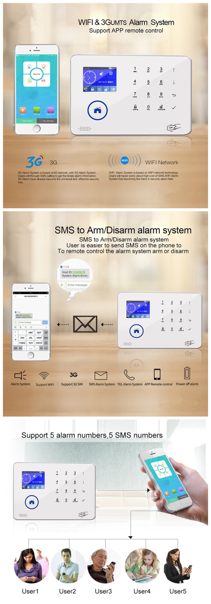 2019 new home security alarm system wireless WIFI GSM 3G alarm system