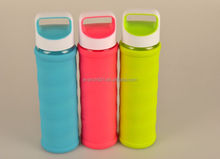 Promotional Clean Glass Drink Bottle With Silicone Sleeve For Drinking Water