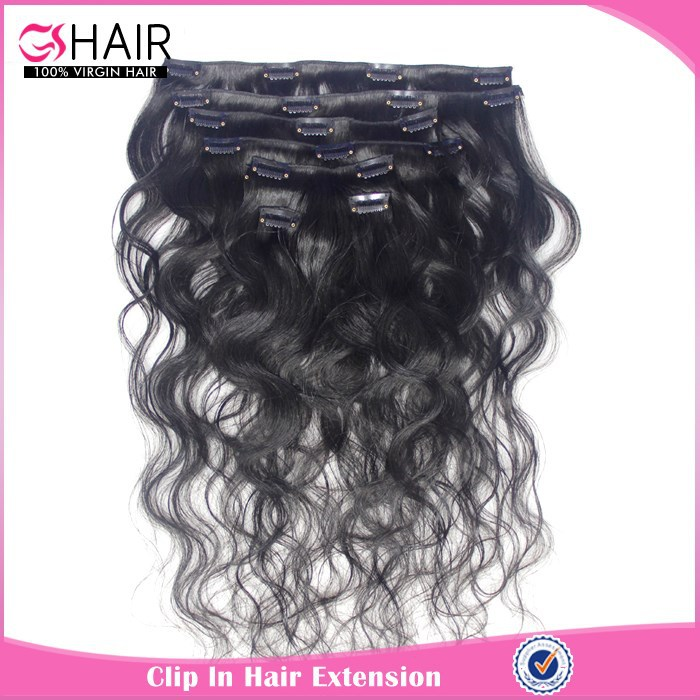 Brazilian virgin clip in remy human hair extensions