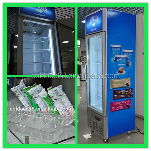 Seven-eleven convenience shop popsicle upright showcase/Haagen-dazzs ice cream antifogging glass door deep freezer