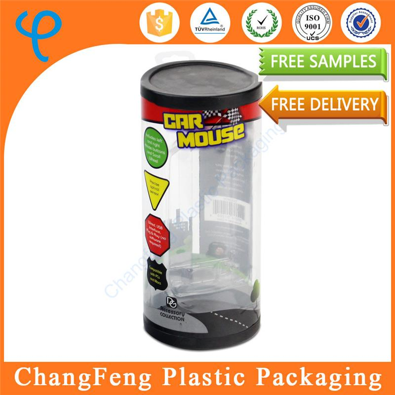 Custom Logo Wholesale Cylinder Clear Plastic Doll Packaging Box
