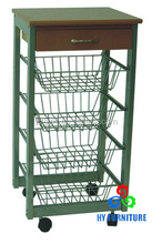 Mobile kitchen metal vegetable storage cart baskets fruit trolley with drawer