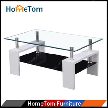Contemporary MDF Legs Glass Tea Table