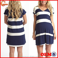 Blue white stripe print maternity dresses wear for pregnant 2015