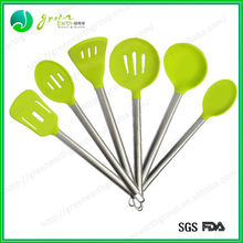 100% food grade hot sale green color silicone cooking utensils set