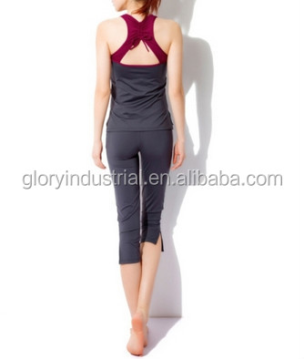 Red Woman Jogging Shirts Body Building Sport Wear Aerobics Pant Suit