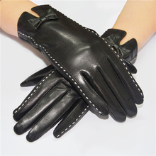Ladies Leather Gloves Leisure butterfly knot gloves High grade goat skin gloves